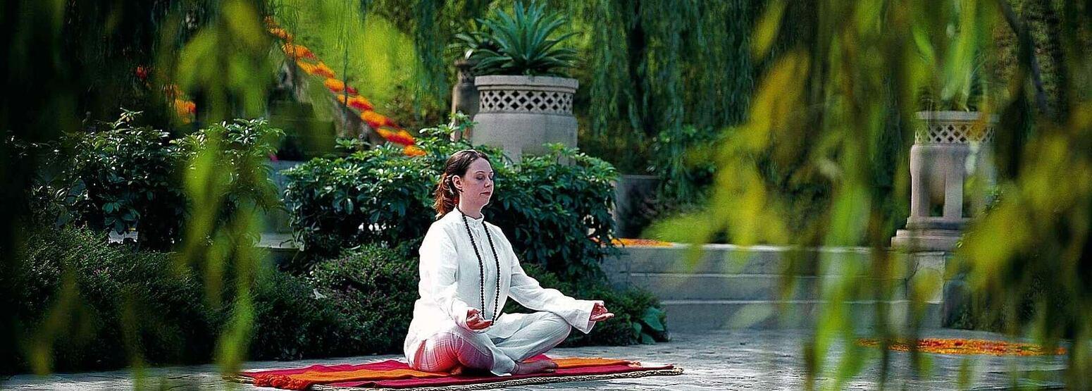 Meditation at ananda himalayas hotel india