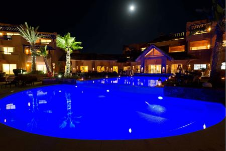 Night View Swimming pool at paradis plage morocco