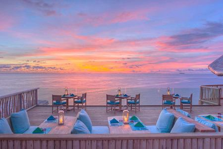 sunset view at Soneva Fushi Beach Resort Maldives