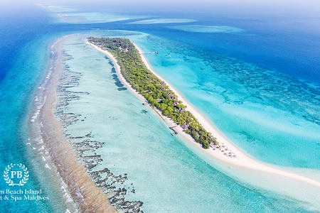 aerial view of palm beach resort and spa maldives