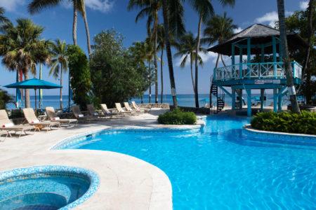 pool bar at rendezvous resort st lucia caribbean