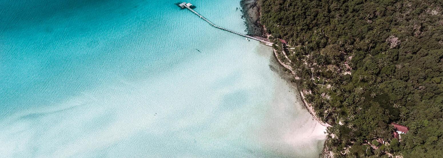 Private Beach Aerial at soneva kiri resort thailand
