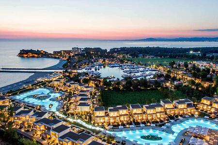sunset aerial view of sani resort halkidiki greece
