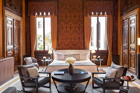 bedroom at aman hotel venice