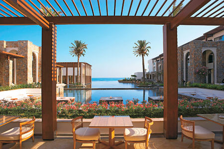 Sea View Restaurants and palm-fringed lagoons at Amirandes Crete