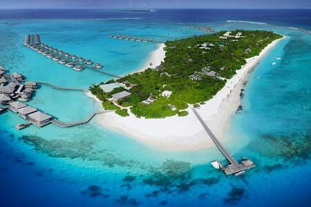 aerial view of six senses laamu hotel maldives