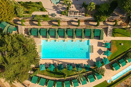 aerial view of garden pool at gran hotel son net mallorca spain