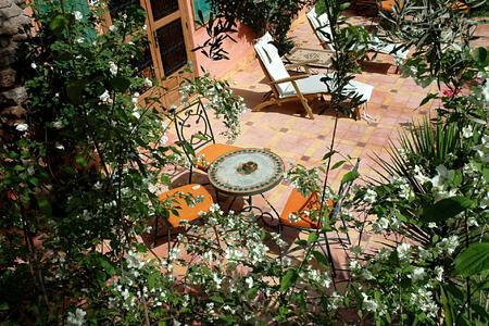 terrace at la roseraie hotel morocco