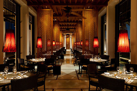 The Beach Restaurant - Interior at the chedi hotel oman