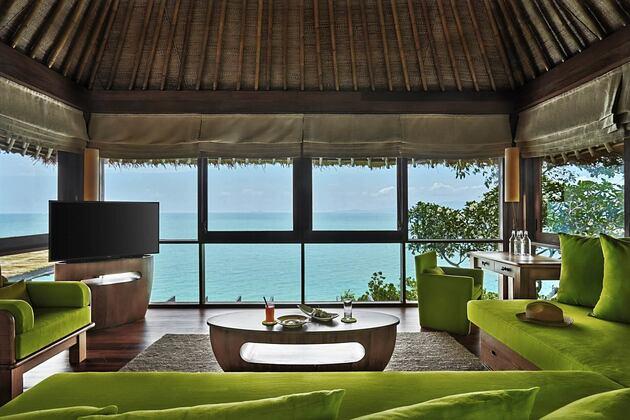 the retreat living room at six senses samui hotel thailand