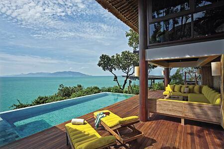 the retreat pool deck at six senses samui hotel thailand