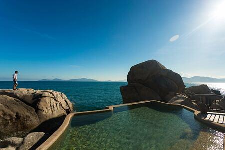 the rock retreat pool at six senses ninh van bay