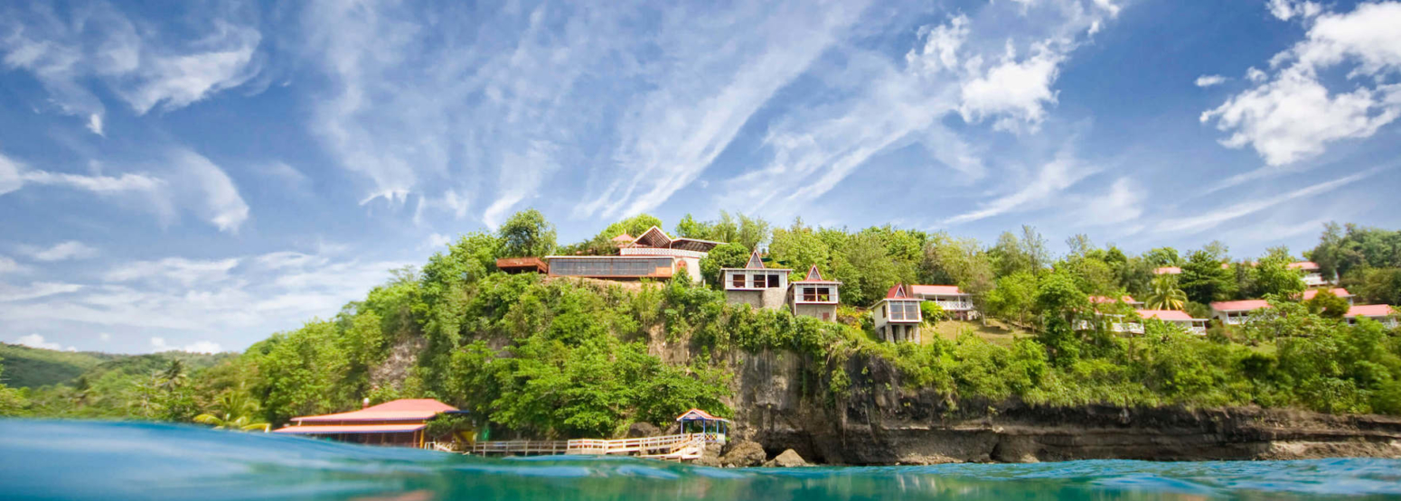 View from the Caribbean Sea at ti kaye resort and spa jamaica
