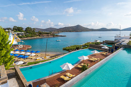 VIEW FROM THE BUNGALOWS SHARING POOL at elounda bay palace hotel greece
