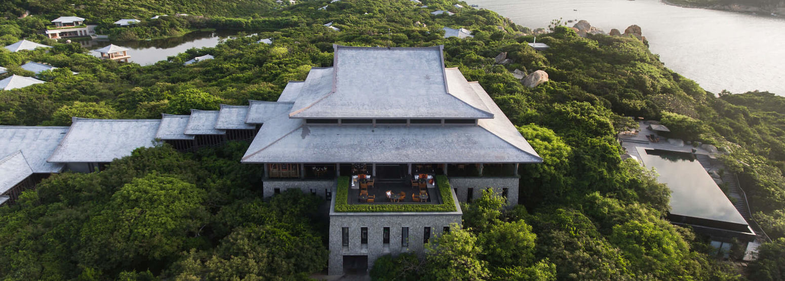 View of Central Pavilion from the terrace at amanoi luxury resort vietnam