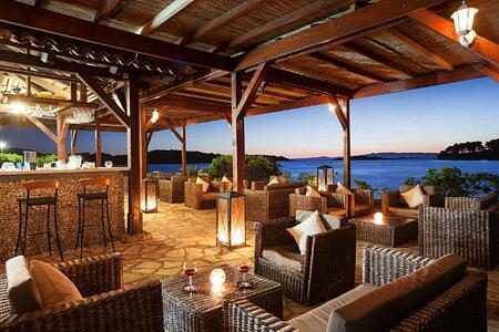 Vista Mare beach bar Tavern at night at Hotel Odisej Croatia