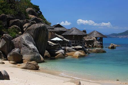water villa exterior at six senses ninh van bay