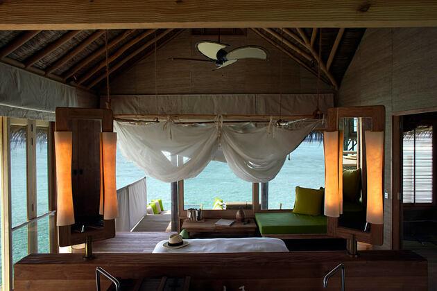 water villa interior at six senses laamu hotel maldives