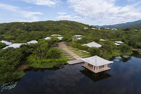 Yoga Pavilion by the lake - aerial view at amanoi luxury resort vietnam