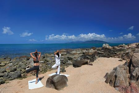 yoga on the rocks at six senses samui hotel thailand