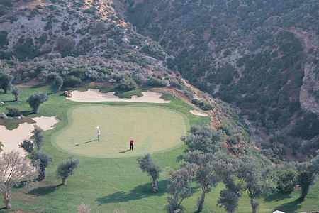 aerial view of green at aphrodite hills hotel cyrpus