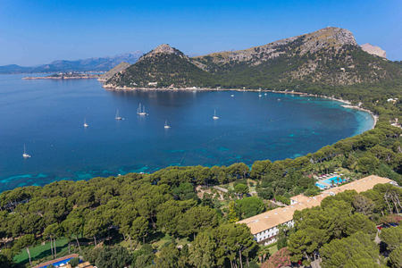 aerial view of hotel and the bay at Hotel Formentor Mallorca