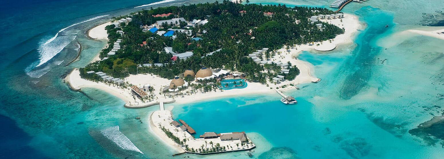 aerial view of Kandooma Resort Maldives