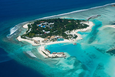 aerial view of Kandooma Resort Maldives