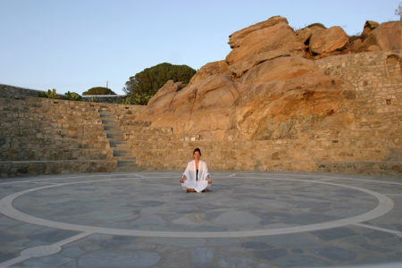 amphitheatre for yoga and pilates at Mykonos Grand
