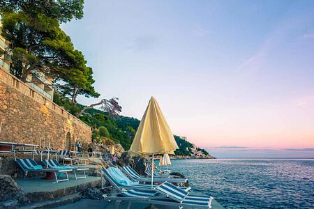 beach terrace at sunrise at villa dubrovnik croatia
