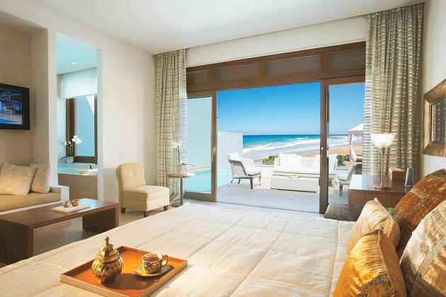 beach villa sea view master bedroom and bathroom at Amirandes Crete