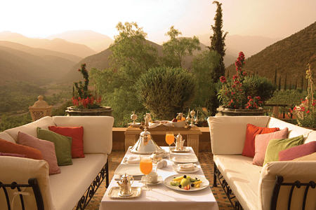 breakfast in the mountains at kasbah tamadot hotel morocco