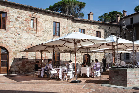 breakfast in the square at Castel Monastero hotel