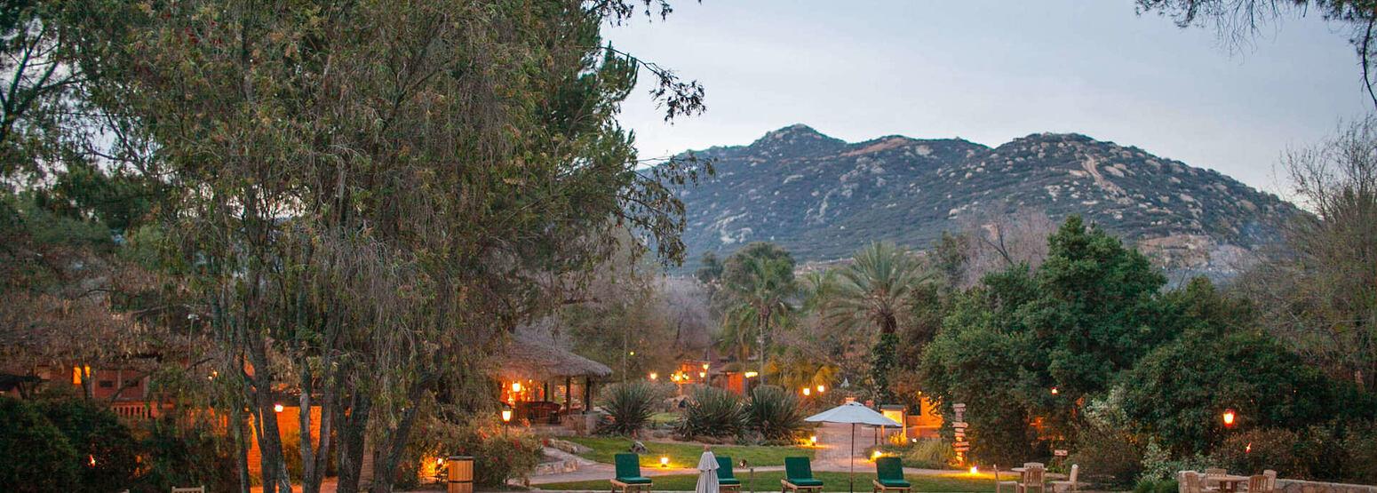 central pool at dusk at rancho la puerta spa retreat mexico