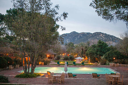 central pool at dusk at rancho la puerta spa retreat mexico