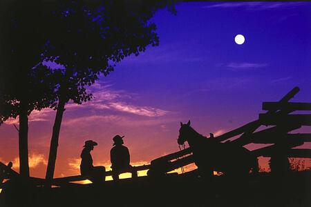 cowboys at sunset at echo valley ranch canada at echo valley ranch canada