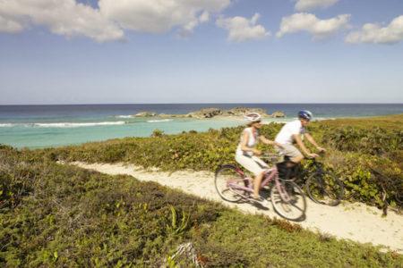cycling at como parrot cay resort caribbean