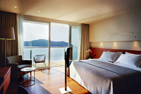 deluxe bedroom at sunrise at villa dubrovnik croatia