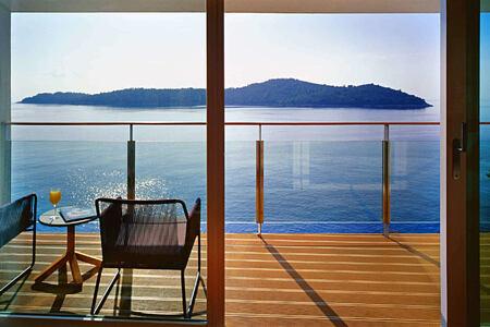 deluxe bedroom terrace view at sunrise at villa dubrovnik croatia
