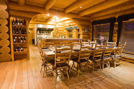 dining room and open kitchen at echo valley ranch canada