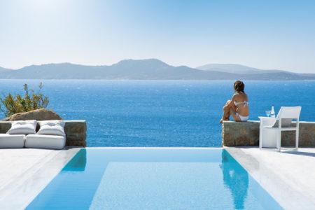 enjoy the views across the bay at Mykonos Grand