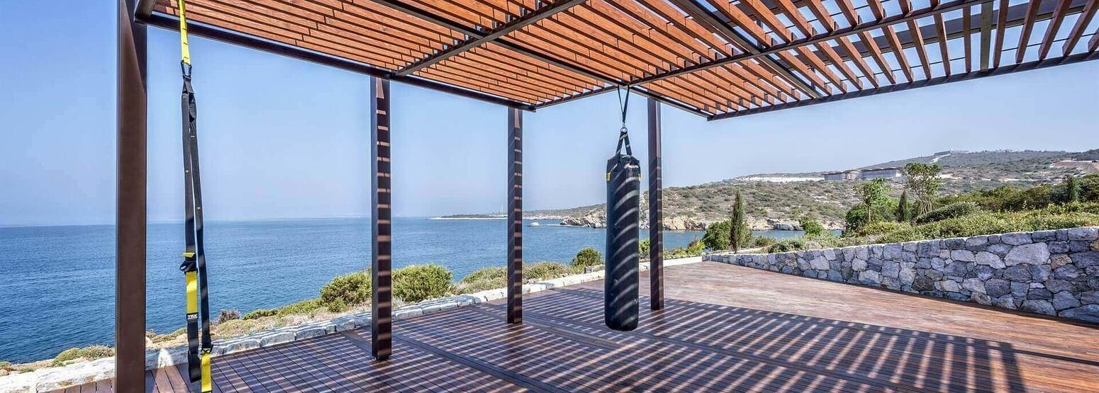 fitness training terrace at Six Senses Kaplankaya resort turkey