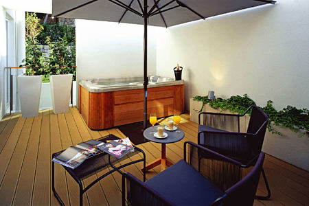 garden suite terrace at sunrise at villa dubrovnik croatia