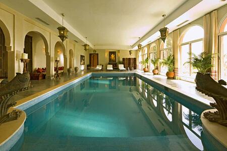 indoor pool at kasbah tamadot hotel morocco