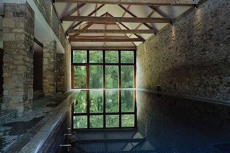 indoor pool view at babington house somerset uk