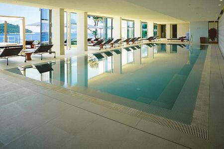 indoor swimming pool at sunrise at villa dubrovnik croatia