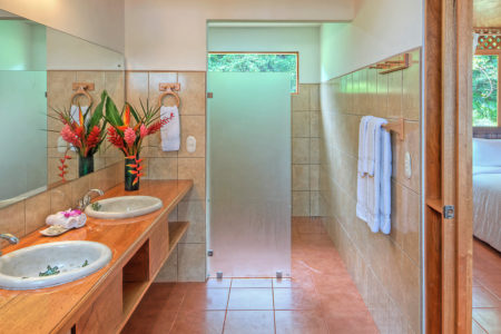 junior suite bathroom at tortuga lodge costa rica