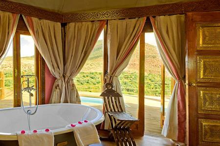 berber tents bathroom at kasbah tamadot hotel morocco