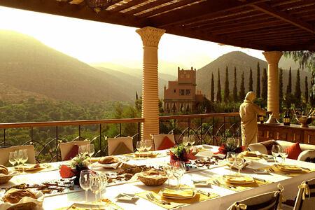 terrace dining at kasbah tamadot hotel morocco