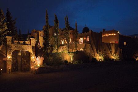 night exterior at kasbah tamadot hotel morocco